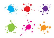 Abstract splatter blue red green purple pink orange color set . Illustration  design Royalty Free Stock Images