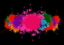 Abstract  splatter colorful banner with paint stains and splatter on a black color background royalty free illustration
