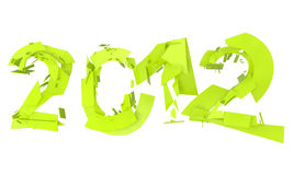 Abstract splitted lettering 2012 in neon green. High quality rendering of abstract broken lettering 2012 in neon green Royalty Free Stock Photos