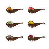Abstract spoons with different spices vector design Stock Photography