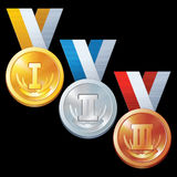 Abstract Sport Award. Round Gold, Silver and Bronze Medal Icons. Olympic Sport Medal. Vector Set. First Second and Third Place Medal Isolated Stock Photos