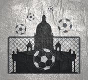 Abstract sport backdrop. Football theme background. Soccer goal, ball and Saint Isaac Cathedral Royalty Free Stock Photography