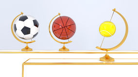 Abstract sport balls background. 3d illustration Royalty Free Stock Photography