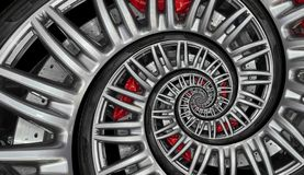 Abstract sport car spiral wheel rim with tire, brake disc. Automobile repetitive pattern background illustration. Car wheel and ti. Re twisted into spiral vector illustration
