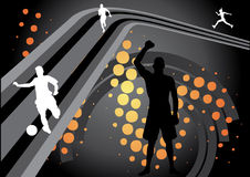 Abstract sport design. With shilouettes of sportsmen Royalty Free Stock Photo