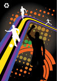 Abstract sport design. With silhouettes of sportsmen Stock Photography