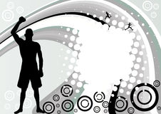 Abstract sport design. With silhouette of winning boxer Stock Images