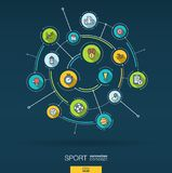 Abstract Sport and fitness background. Digital connect system with integrated circles, flat thin line icons. Vector Royalty Free Stock Photo