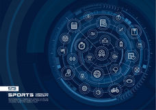 Abstract Sport and fitness background. Digital connect system with integrated circles, glowing thin line icons. Stock Photography