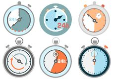 Set of sport icons with stopwatch. Abstract sport icons with stopwatch Royalty Free Stock Images