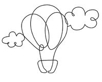Balloon in clouds one line drawing Royalty Free Stock Photography