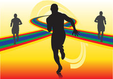 Abstract sport vector. With silhouettes of running man Royalty Free Stock Images