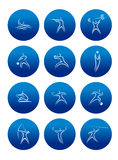 Abstract sporting pictograms with silhouettes of. Abstract silhouettes of athletes with equipments depicting different kind of sports in blue circles for Stock Images