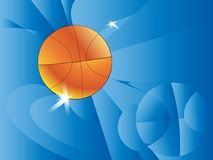Abstract sports background. Vector illustration with ball for design. The star touches the ball basketball. A pseudo polygon. Bask. Etball themed blue background vector illustration