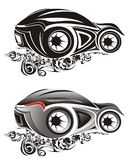 Abstract sports car drawings. A view of two black and white drawings of stylized or abstract sports cars royalty free illustration