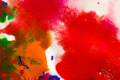 abstract spots splash of bright colors on white paper macro Stock Photography