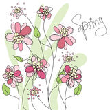 Abstract spring background. With pink flowers, illustrated Royalty Free Stock Photography