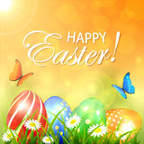 Abstract spring background with colored Easter eggs Royalty Free Stock Photography