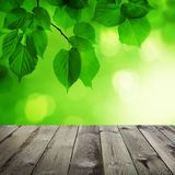 Abstract Spring Background with Empty Wooden Table royalty free stock photos
