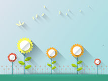 Abstract spring background with paper flowers with space for design Royalty Free Stock Photos