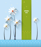 Abstract spring background with paper flowers with space for design. Abstract spring background with paper flowers. Flat design style on light blue background stock illustration