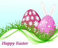 Abstract spring background with pink Easter eggs. On green grass with ears and tail of Easter bunny stock illustration
