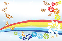 Abstract spring Background with rainbow, butterfli Royalty Free Stock Image