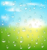 Abstract spring background with sunrise and drops Stock Image