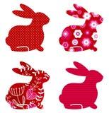 Abstract spring bunny set Royalty Free Stock Photos