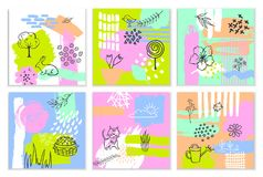 Abstract spring easter paint brush stroke textured and outlined collage quirky cards. Set Royalty Free Stock Photography