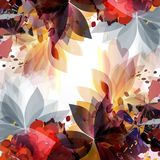 Abstract spring fashion illustration with leafs and spots. Color Stock Photo
