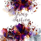 Abstract spring fashion illustration with leafs and spots.Colorf Royalty Free Stock Photography