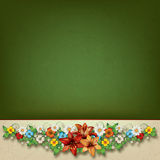 Abstract spring floral composition. On beige green grunge background Royalty Free Stock Photo