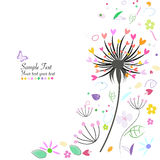 Abstract spring flowers and dandelion greeting card Royalty Free Stock Image