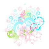 Abstract spring flowers and scrolls background. Stock Photos