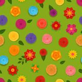 Abstract spring flowers seamless pattern. Vector seamless background Stock Photo