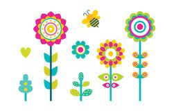 Abstract Spring Fowers Blooming Buds Simple Shapes. Abstract spring flowers blooming buds made of simple shapes, flying bee and grass elements, hearts and stock illustration