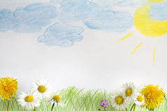 Abstract spring meadow with child painting Stock Image