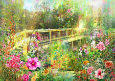 Abstract Spring multicolored flowers near Canal Bridge watercolor painting. Stock Photo
