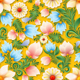 Abstract spring seamless floral ornament. On yellow background Stock Photo
