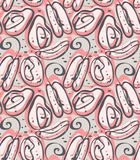 Abstract spring seeds corral pink and green gray. Repeating pattern with Abstract spring seeds corral pink and green gray.Hand drawn with ink seamless background stock illustration