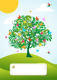Abstract spring time tree greeting card. Abstract spring time tree with flowers greeting card background. Vector file layered for easy manipulation and custom Stock Photography
