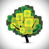 Abstract Spring Tree Concept Vector With Colorful Green Leaves Stock Photography
