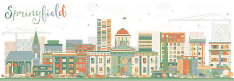 Abstract Springfield Skyline with Color Buildings. Royalty Free Stock Images