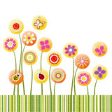 Abstract springtime colorful flower greeting card. Abstract springtime colorful flower on green stripe background Royalty Free Stock Photo