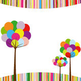 Abstract springtime rainbow color tree. On colorful stripe background Royalty Free Stock Photo