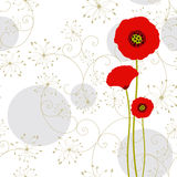 Abstract springtime red poppy on seamless pattern. Background Stock Images