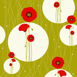 Abstract springtime red poppy on seamless pattern. Background Stock Image