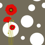 Abstract springtime red poppy on seamless pattern. Background Royalty Free Stock Photography