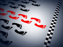 Abstract sprint. And red footstep (done in 3d Royalty Free Stock Photos